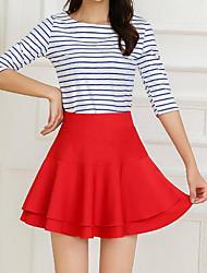 Недорогие -женщины нормальные ежедневные над юбками колена, простая линия хлопка поли твердая весна