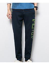 economico -pantaloni chino micro elasticizzati da uomo di media altezza, a maniche corte in poliestere / cotone a lettera semplice