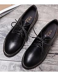 preiswerte -Damen Schuhe PU Frühling Herbst Komfort Outdoor Niedriger Heel für Schwarz