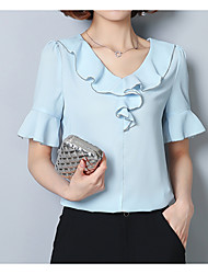 cheap -Women's Holiday Cute Loose Blouse - Solid Colored, Patchwork V Neck