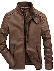 cheap -Men's Leather Jacket - Solid Colored, Print Stand / Long Sleeve