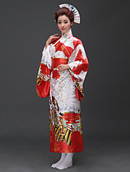 cheap -Cosplay Dress Japanese Traditional Kimono Women's Festival / Holiday Halloween Costumes Pink Red Floral/Botanical Traditional/Classic