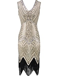 cheap -The Great Gatsby The Great Gatsby 1920s Costume Women's Dress Black Golden Vintage Cosplay Chiffon Organza Sleeveless