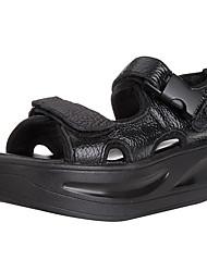 Недорогие -Жен. Обувь Кожа Весна Удобная обувь Сандалии Туфли на танкетке Открытый мыс для Повседневные на открытом воздухе Белый Черный