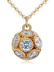 cheap -Women's Cubic Zirconia Zircon Pendant Necklace - Simple Fashion European Ball Gold Silver Rose Gold Necklace For Wedding Party