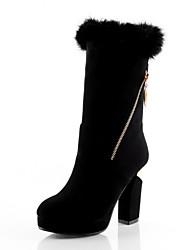 baratos -Mulheres Sapatos Courino Inverno Botas da Moda Botas Salto Robusto Ponta Redonda Botas Cano Médio Cadarço de Borracha para Festas & Noite