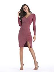 baratos -Mulheres Básico Algodão Tricô Vestido Sólido Decote V Acima do Joelho