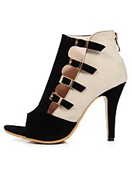 preiswerte -Damen Schuhe Nubukleder Frühling Sommer Pumps Sandalen Stöckelabsatz Peep Toe Schnalle für Büro & Karriere Party & Festivität Schwarz Rot