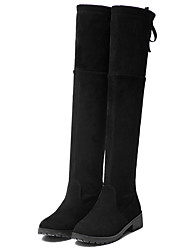 cheap -Women's Shoes Suede Winter Comfort Fashion Boots Boots Wedge Heel Round Toe Knee High Boots For Casual Dress Black