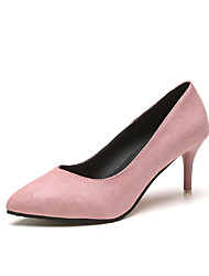 cheap -Women's Shoes Suede Summer T-Strap Heels Stiletto Heel Round Toe Bowknot for Casual Black Gray Red Pink