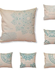 cheap -6 pcs Textile Cotton/Linen Pillow Cover, Floral Print Art Deco Pattern Tropical