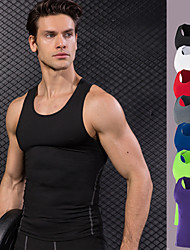 cheap -Men's Running Tank Top - Red, Blue, Light Green Sports Solid Colored Tank Top Fitness, Gym, Workout Sleeveless Activewear Quick Dry, Breathable High Elasticity