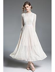 cheap -Women's Lantern Sleeve Slim Sheath Swing Dress - Solid Colored White, Lace High Waist Maxi Turtleneck