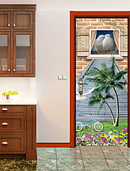 Недорогие -Животные Цветочные мотивы/ботанический Наклейки 3D наклейки Наклейки для животных Декоративные наклейки на стены Дверные наклейки, Винил