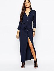 preiswerte -Damen Hemd Kleid - Gespleisst, Solide Maxi V-Ausschnitt / Frühling / Geschlitzt