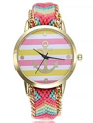 Недорогие -Жен. Модные часы Китайский Кварцевый Крупный циферблат Ткань Группа На каждый день минималист Черный Зеленый Розовый Фиолетовый Желтый
