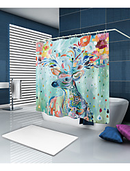 cheap -Shower Curtains & Hooks Country Polyester Animal Machine Made