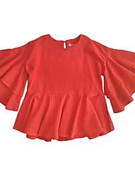 preiswerte -Mädchen T-Shirt Alltag Solide Baumwolle Sommer Langarm Einfach Braun Rote