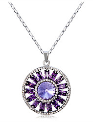 cheap -Women's Cubic Zirconia Amethyst Crystal Zircon Silver Plated Pendant Necklace  -  Elegant Fashion Circle Purple Necklace For Party /
