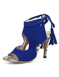 preiswerte -Damen Schuhe Beflockung Frühling Sommer Pumps Sandalen Stöckelabsatz Offene Spitze für Büro & Karriere Party & Festivität Schwarz Rot Blau