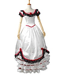 cheap -Victorian Rococo Costume Dress Masquerade Party Costume Red and White Vintage Cosplay Elastic Satin Short Sleeves Puff/Balloon