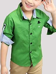 economico -Camicia Da ragazzo Quotidiano Cotone Tinta unita Primavera Autunno Manica lunga Casual Verde Arancione Giallo