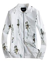 cheap -Men's Plus Size Jacket - Contemporary, Print Stand