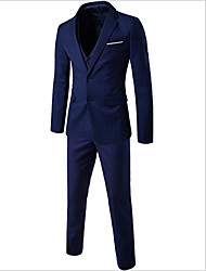 cheap -Men's Street chic Plus Size Cotton Slim Suits - Solid Colored Peaked Lapel