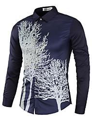 Homens Camisa Social Negócio Estampado, Floral