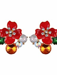cheap -Women's Floral Flower Crystal Stud Earrings / Hoop Earrings - Floral / Elegant / Fashion Yellow / Red / Blue Earrings For Daily / Prom