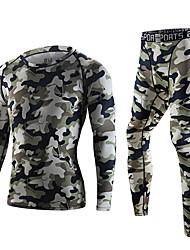 baratos -Homens Gola Redonda Camiseta Segunda Pele - Laranja, Verde Tropa Esportes camuflagem Roupas de Compressão / Leggings / Conjuntos de Roupas