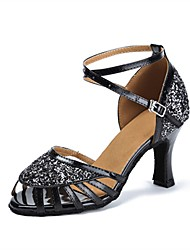 cheap -Women's Latin Shoes Sparkling Glitter Sandal / Heel Customized Heel Customizable Dance Shoes Black / Professional