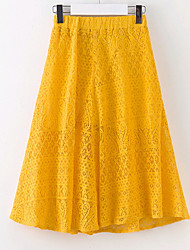 cheap -Girls' Daily Solid Skirt Summer Green Yellow