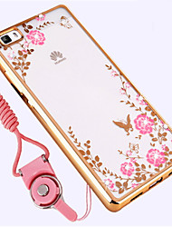 abordables -Coque Pour Huawei P8 Antichoc Strass Coque Fleur Flexible Silicone pour Huawei P8