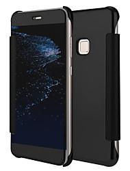 Недорогие -Кейс для Назначение Huawei P10 Lite P10 Покрытие Зеркальная поверхность Флип Чехол Сплошной цвет Твердый Кожа PU для P10 Lite P10 Huawei