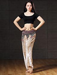 baratos -Dança do Ventre Roupa Mulheres Espetáculo Algodão Modal Estampa Manga Curta Caído Blusa Calças