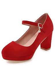 preiswerte -Damen Schuhe Nubukleder Frühling / Herbst Pumps High Heels Blockabsatz Runde Zehe Grün / Blau / Mandelfarben / Party & Festivität