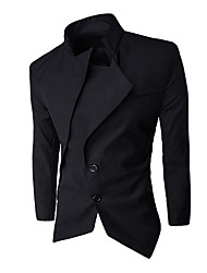 cheap -Men's Cotton Blazer - Solid Colored, Tassel Stand / Long Sleeve
