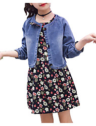 cheap -Girls' Daily Holiday Solid Floral Clothing Set, Cotton Polyester Spring Summer Short Sleeves Long Sleeves Simple Active Blue