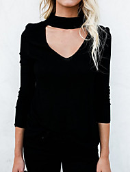 economico -Per donna Vintage Pullover Tinta unita