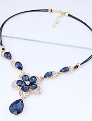 cheap -Women's Floral Flower Rhinestone Pendant Necklace  -  Floral Fashion European Dark Blue Necklace For Party