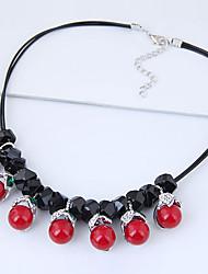 preiswerte -Damen Strass Statement Ketten  -  Retro Modisch Europäisch Kreisform Rot 42cm Modische Halsketten Für Party