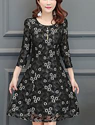 preiswerte -Damen Anspruchsvoll Street Schick Hülle Kleid - Spitze Druck, Verziert Übers Knie