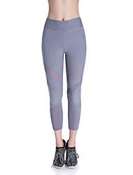 baratos -Mulheres Calças de Yoga Esportes Tingido Elastano, Com Transparência 3/4 calças justas Corrida, Fitness, Ginásio Roupas Esportivas Respirável, Secagem Rápida Elasticidade Alta