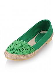 abordables -Femme Chaussures Similicuir Printemps / Automne Confort / Nouveauté Ballerines Talon Plat Bout rond Vert / Bleu / Amande