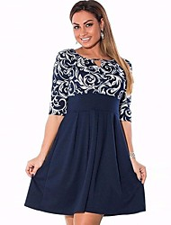 cheap -Women's Plus Size Basic Cotton Loose Dress - Floral