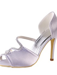 cheap -Women's Shoes Silk Spring / Summer Basic Pump Wedding Shoes Stiletto Heel Peep Toe Rhinestone Light Grey