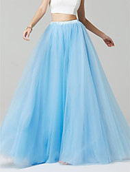baratos -Linha A / Princesa Longo Tule / Cetim Elástico Vestido de Madrinha com de LAN TING BRIDE®