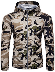 cheap -Men's Sports / Going out Jacket - Camouflage, Print Hooded