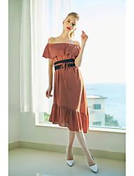 baratos -Mulheres Sofisticado Solto Vestido - Frufru Assimétrico
